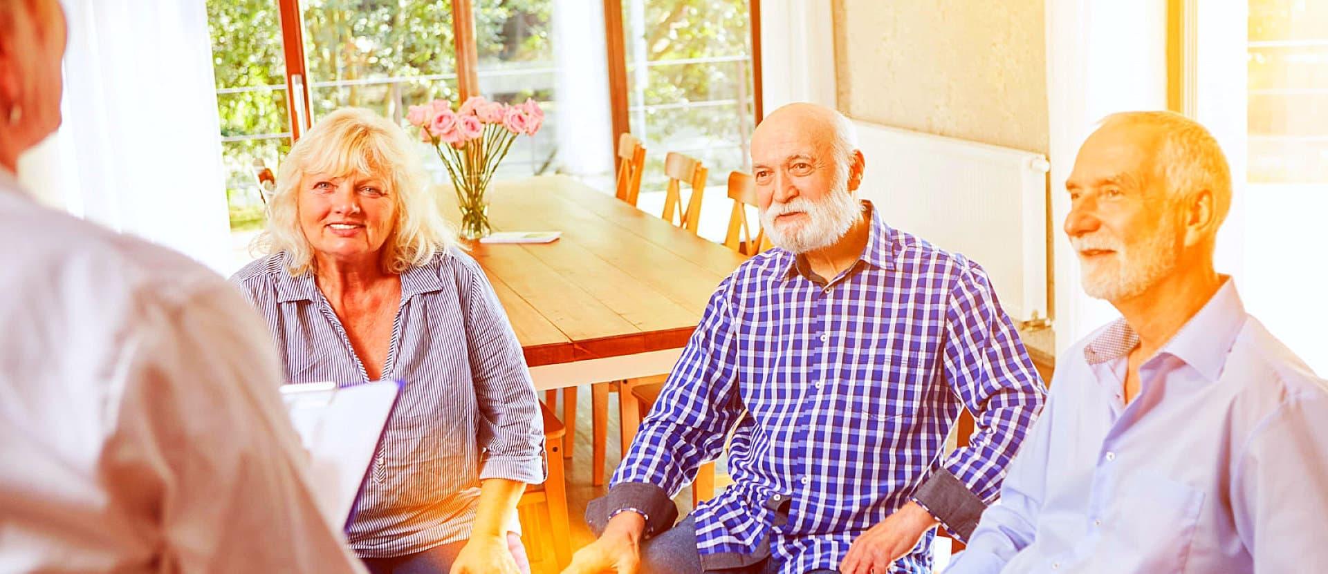 elderly listening together